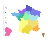 Vector isolated illustration of simplified administrative map of France Colorful silhouettes