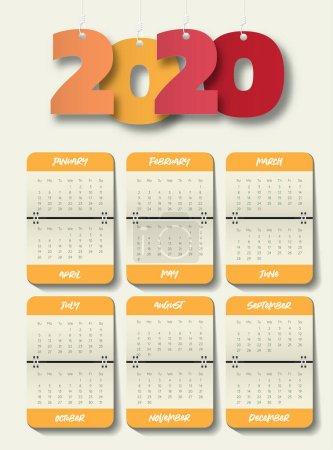 Photo pour Modèle de calendrier moderne 2020 .Vector / illustration . - image libre de droit