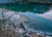 Green water of Dora Baltea river in Aosta city, Italy
