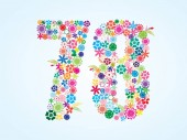 Vector Colorful Floral 78 Number Design isolated on white background Floral Number Seventy Eight