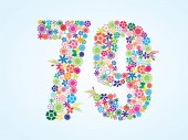 Vector Colorful Floral 79 Number Design isolated on white background Floral Number Seventy Nine