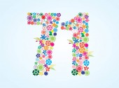 Vector Colorful Floral 71 Number Design isolated on white background Floral Number Seventy One