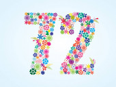 Vector Colorful Floral 72 Number Design isolated on white background Floral Number Seventy Two