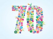 Vector Colorful Floral 70 Number Design isolated on white background Floral Number Seventy