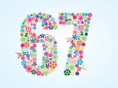 Vector Colorful Floral 67 Number Design isolated on white background Floral Number Sixty Seven