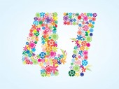 Vector Colorful Floral 47 Number Design isolated on white background Floral Number Forty Seven