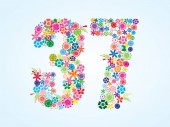 Vector Colorful Floral 37 Number Design isolated on white background Floral Number Thirty Seven