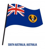 South Australia (SA) Flag Waving Vector Illustration on White Background States Flag of Australia