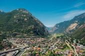 Beautiful landscape in the Aosta Valley mountainous region in northwestern Italy. Alpine valley in summer seen from fort Bard. Bird s eye view