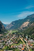Beautiful landscape in the Aosta Valley mountainous region in northwestern Italy. Alpine valley in summer seen from fort Bard.