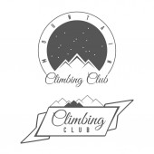 Climbing Club - Mountain Adventure - Alpine Trip Vector Emblem - Icon - Print - Badge in Vintage Black and White Style Concept for Shirt or Label Stamp or Tee