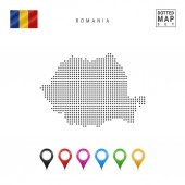 Dotted Map of Romania Simple Silhouette of Romania The National Flag of Romania Set of Multicolored Map Markers Vector Illustration Isolated on White Background
