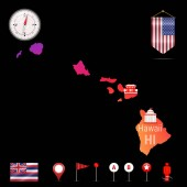 Hawaii Vector Map Night View Compass Icon Map Navigation Elements Pennant Flag of the United States Vector Flag of Hawaii Various Industries Economic Geography Icons