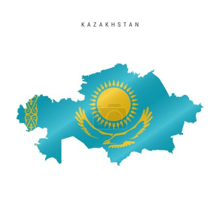 Illustration for Detailed waving flag map of Kazakhstan. Vector map with masked flag. - Royalty Free Image