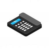 Isometric black telephone icon 3d Landline phone