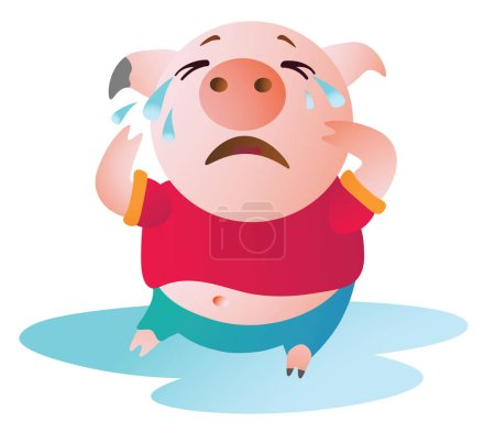 Illustration for Cartoon Pig sits in a pool of tears and cries. Vector illustration. Symbol of the new year 2019. Isolated on transparent background. Excellent for the design of postcards, posters, stickers etc. - Royalty Free Image