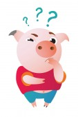 Cartoon pig stands and looks at us questioningly