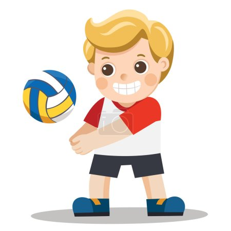 Funny little boy playing volley ball...