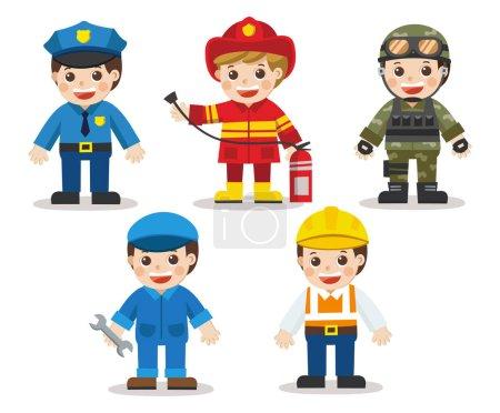 Photo pour Kid Ensemble de différentes professions. Docteur, mécanicien, soldat, ingénieur, policier, pompier. Illustration vectorielle dans un style plat - image libre de droit