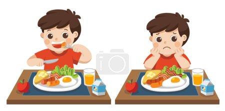 kleiner Junge, der gerne frühstückt und unglücklich ist, wenn er frühstückt. Konzept der Gesundheit und der wachsenden Kinder.