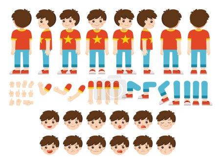 Illustration pour Kit de création de mascotte de petit garçon pour différentes poses. Constructeur vectoriel avec différentes vues, émotions, poses et gestes. Jeu de création de personnage écolier . - image libre de droit