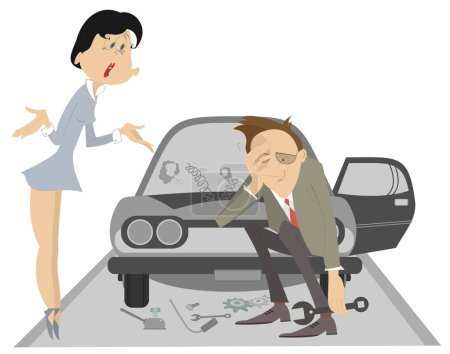 Illustration for Sad man, angry woman and broken car illustration. Upset woman asks the man to do something with the broken car isolated illustration - Royalty Free Image