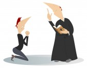 Priest and prayer man in the kneels illustration Man is praying in the kneels and a preaching priest with a prayer book isolated on white illustration