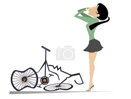Illustration for Cyclist woman and a broken bike isolated illustration. Weeping cyclist woman standing near a broken bike covered face with hands isolated on white illustration - Royalty Free Image