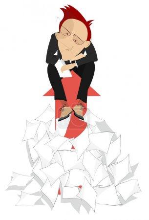 Illustration pour Illustration de concept de signes d'homme d'affaires et de flèche. L'homme triste s'assied sur le signe de flèche résultant de la grande pile de papiers d'isolement sur le blanc - image libre de droit