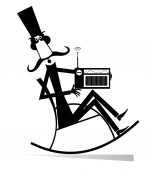 Man rests in the rocking chair and listens a radio isolated illustration Long mustache man in the top hat sits in the rocking chair and listens a radio black on white