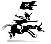Skull headed man looks like death rides on the horse illustration Man with skull head holds a flag with bones symbol and rides on the horse with skull head black on white