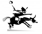Skull headed man with a gun rides on the horse illustration Man with skull head with a gun rides on the horse with skull head black on white