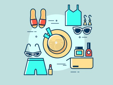 Set of clothes for travel flat vector illustration