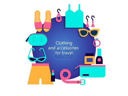 Clothing and accessories for travel. Summer set of clothes