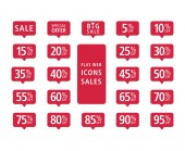 Set of red web flat icons sales