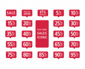 Set of red web flat sales icons