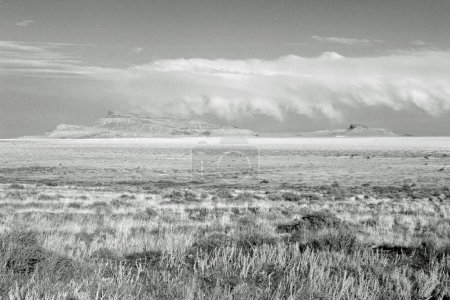 amazing landscape of mountain valley, black and white