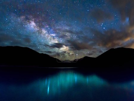amazing blue lake and starry sky at night