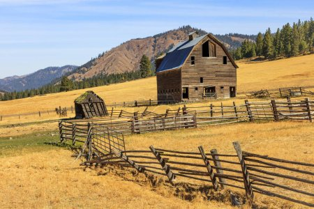 Photo for Amazing view of old wooden house at rural field - Royalty Free Image