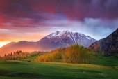 """Постер, картина, фотообои """"величественные горные пейзаж на закате"""""""