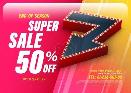 Template super sale with big retro arrow for promotion advertising modern style. Vector illustration.