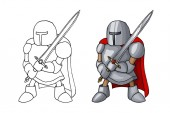 Cartoon medieval confident knight with broad sword isolated on white background