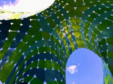 Cool view underneath  an artistic jellyfish  structure in Borden Park, Edmonton, Alberta