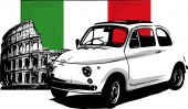 60s vintage italian car with flag and colloseum