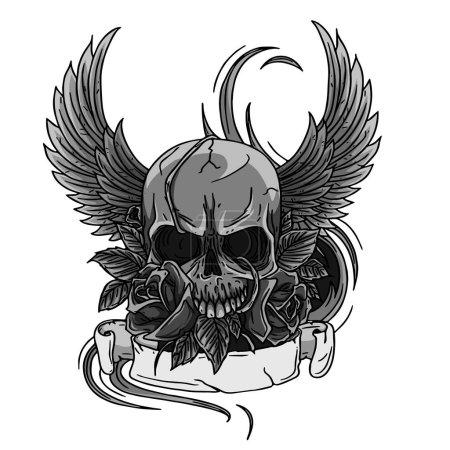 Czaszka symbol tatuaż projektowania, Korona, wieniec laurowy, skrzydła, róże