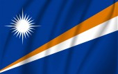 Realistic waving flag of Marshall Islands the Waving Flag of Marshall Islands high resolution Fabric textured flowing flagvector EPS10