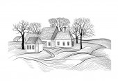Countryside rural landscape with village house Sketch of countryhouse building with fields Farm land skyline