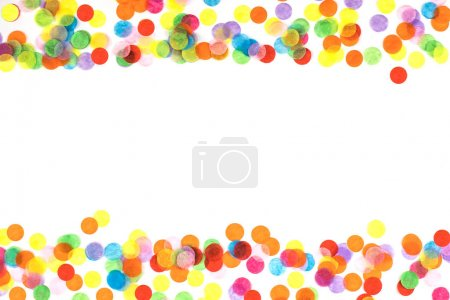Photo for Bright multicolored confetti frame isolated on a white background. Festive concept. Childrens party, birthday, wedding, celebration. Top view. Copy space. - Royalty Free Image