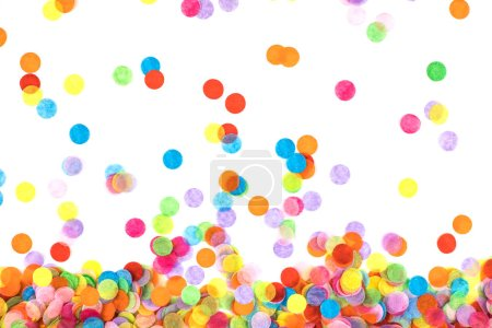 Photo for Bright multicolored confetti isolated on a white background. Festive concept. Childrens party, birthday, wedding, celebration. Top view. Copy space. - Royalty Free Image