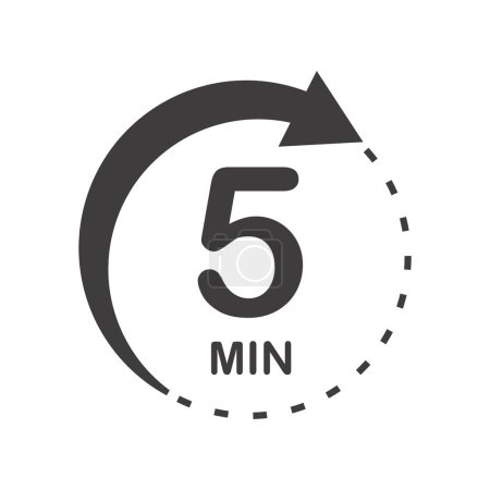 Five minutes icon. Symbol for product labels. Diff...